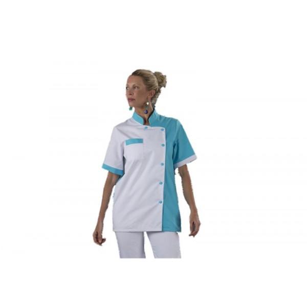 Blouse médicale Mao turquoise et blanche