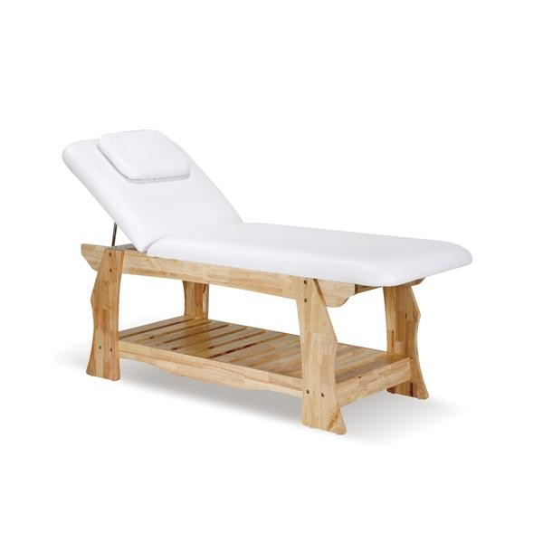 Table de massage en bois clair fixe OLGA