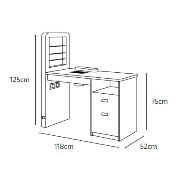 Table manucure MARION avec aspirateur de table