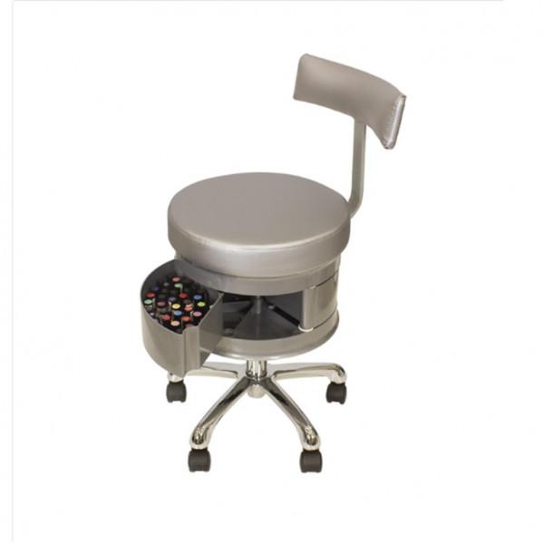 Chaise manucure argent avec rangements